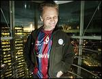 Viggo Mortensen wearing his San Lorenzo soccer shirt.