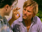 """It's okay,"" Clay indicates, when Darkly says he has no money. (Viggo Mortensen, Brendan Fraser)"