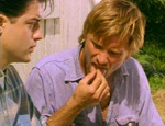 A couple of times in the film, Clay extinguishes his cigarette on his tongue. (Viggo Mortensen, Brendan Fraser)