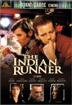 The Indian Runner DVD cover features Viggo Mortensen and David Morse sitting at a bar. Insets at the bottom feature some of the supporting cast, including Valeria Golino, Dennis Hopper, and Charles Bronson.