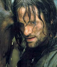 Viggo Mortensen as Aragorn, with Brego in The Two Towers