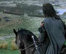 Aragorn and Brego see Saruman's army approaching Helms Deep